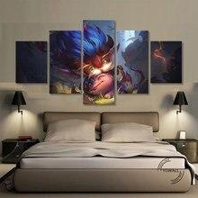 LOL Heimerdinger pinturas de lienzo de arte de pared 5 piezas imágenes impresas decoración del hogar póster para la sala de estar
