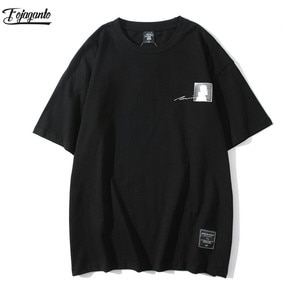 FOJAGANTO Fashion Brand Men Print T-Shirt Tops High Street Mens Cotton Casual T-Shirt Loose Short Sleeve T Shirts Male