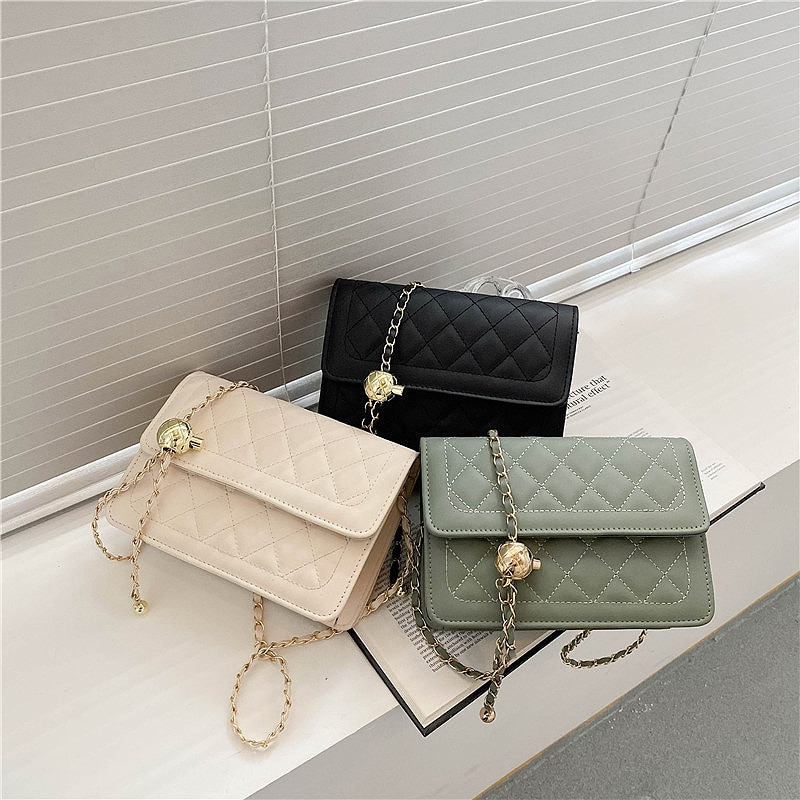 PU Leather Chain Mobile Phone Shoulder Bags Simple Lingge Small Square Bag Women's Luxury Handbags for Women 2021 Novelties