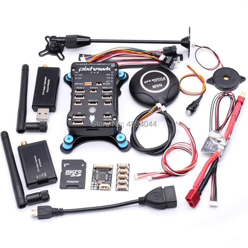 Pixhawk 2.4.8 px4 pix controlador de vôo + 3dr 100 mw/500 mw telemetria de rádio 433 mhz 915 mhz + m8n gps + t plug módulo de potência + suporte gps