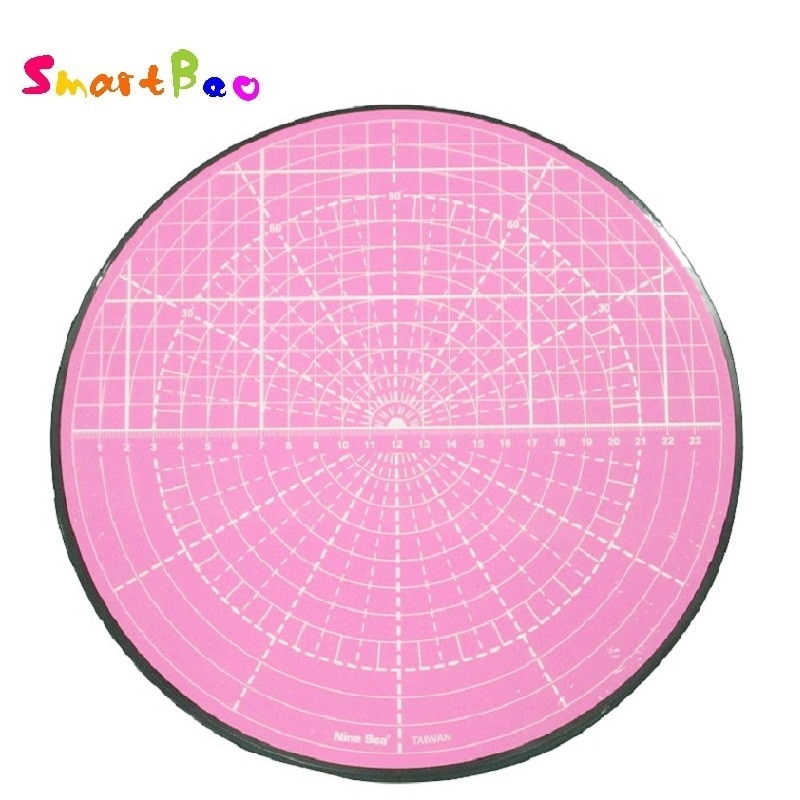 Pink Rotating Cutting Mat for Curved Circle Cutting,Model Painting, Potted Plant Cutting, 360-degree Rotation; Diameter 25.5 cm