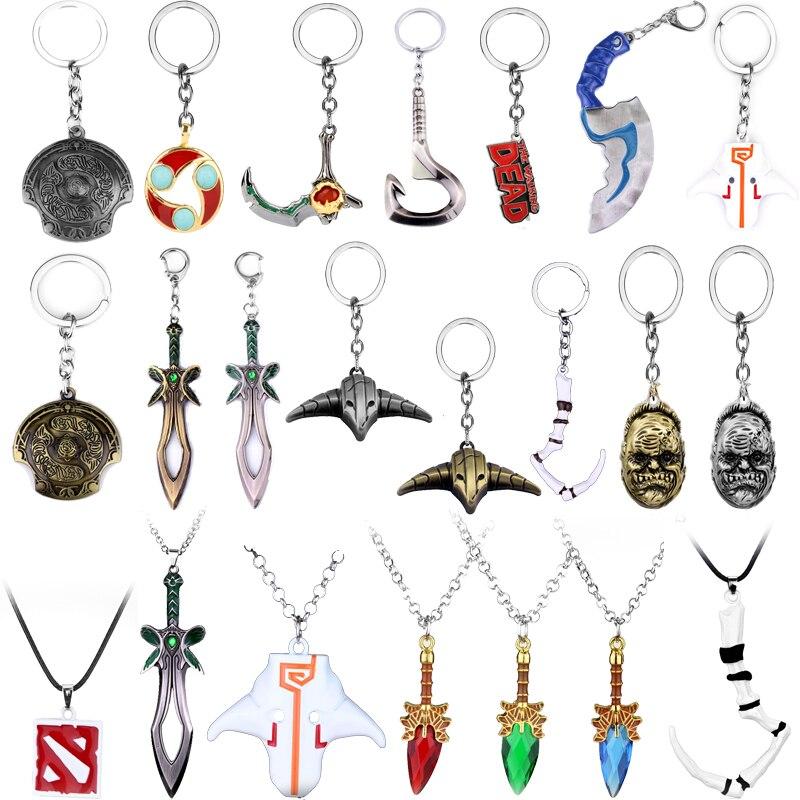 2 llaveros Dota, colgante de armas de espada, llavero de juguete, Talismán, accesorios, Dota 2 Logo, Etiqueta de perro, joyería, decoración bonita para FANS