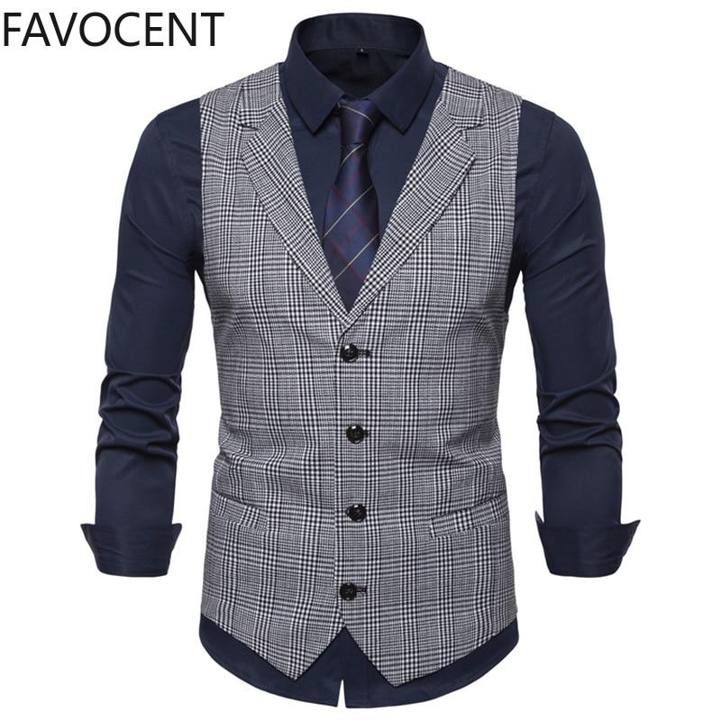 Мужской приталенный жилет, модный тонкий клетчатый мужской жилет, облегающий деловой жилет, мужской жилет в английском стиле, мужской костю...