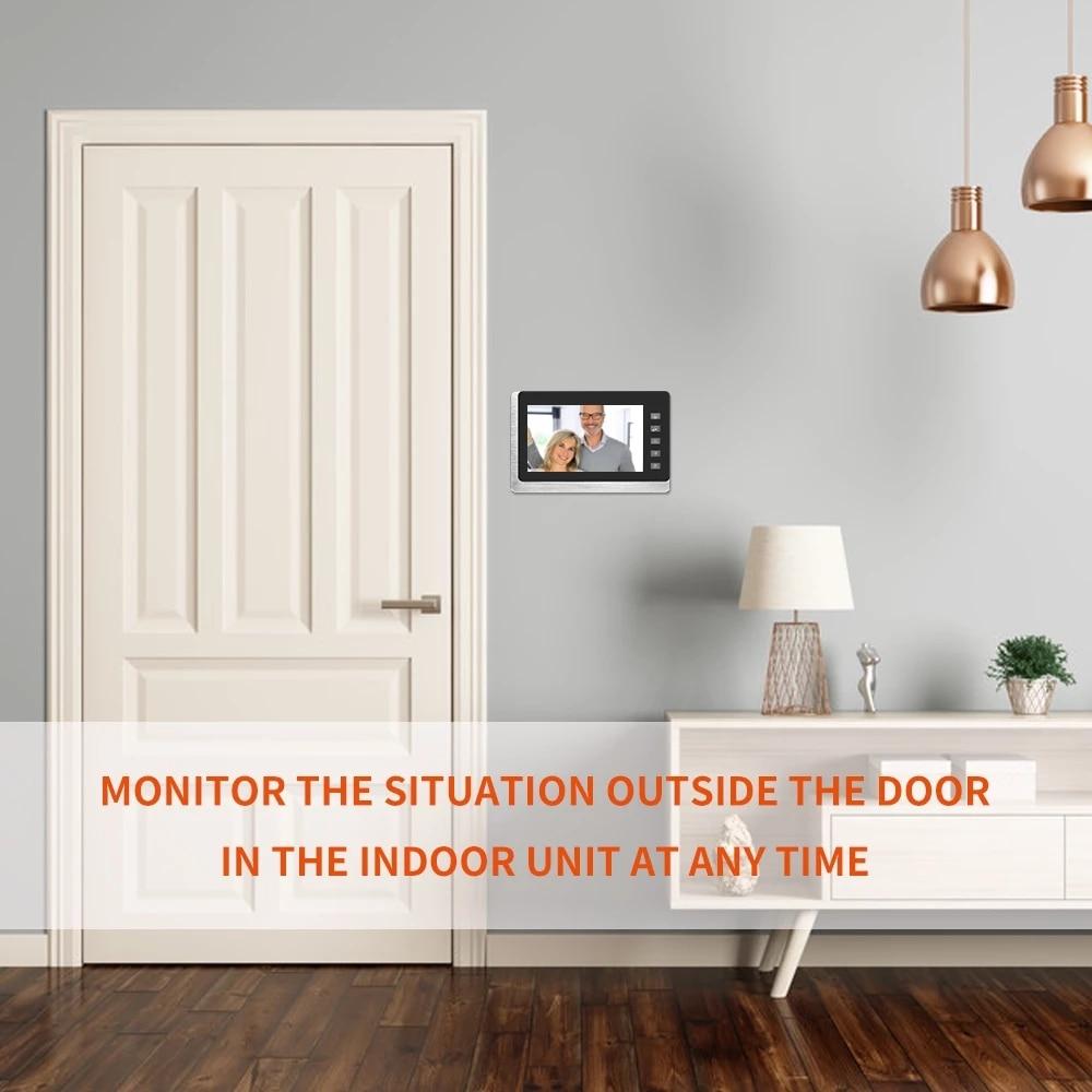 AnjieloSmart Video Door Intercom Entry System Kit Wired Video Doorbell Phone Rainproof Call Panel IR Camera for Home Security enlarge
