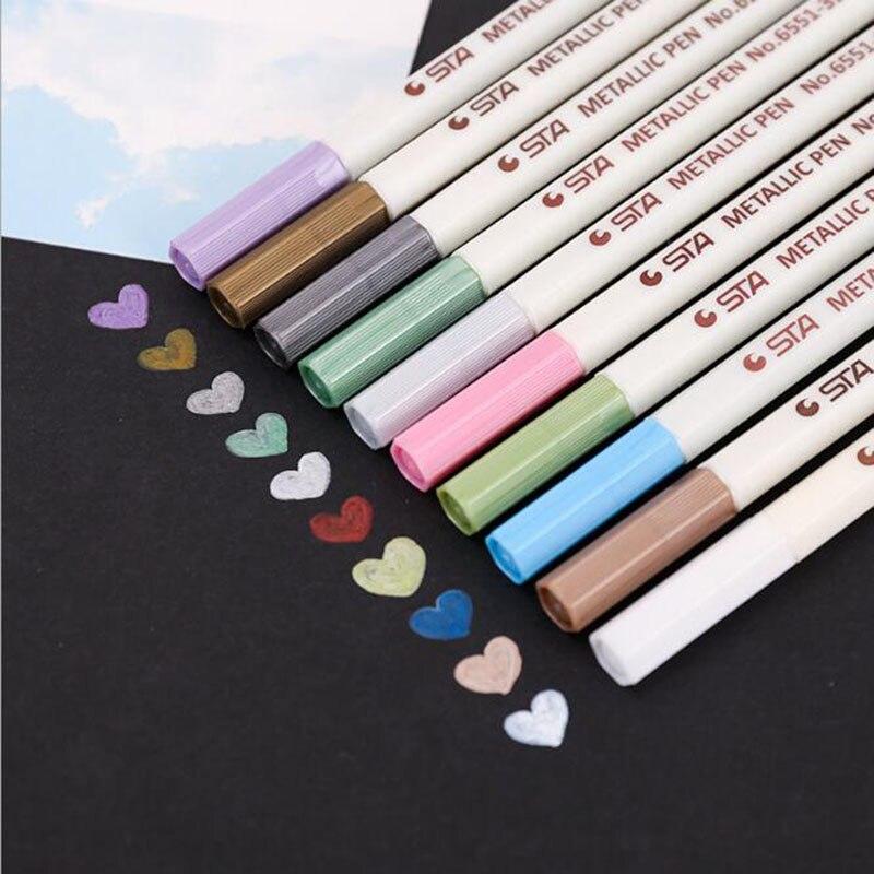 Papelería de pintura STA bolígrafo metálico para álbum de fotos, bolígrafo de Metal, bolígrafo de 10 colores no tóxico con diseño de acuarela, papelería 1 unidad