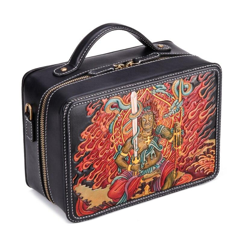 حقيبة جلد مدبوغة للرجال والنساء ، حقيبة شخصية ، حقيبة خياط ، صناعة يدوية ، جلد مدبوغ بالخضروات ، مع رفرف
