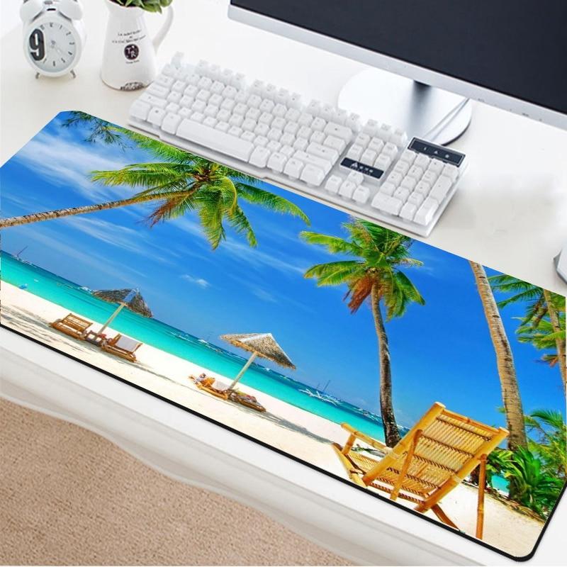 Jogo almofada do rato bela praia vista mar lindamente à prova dxxl água mesa almofada teclado xxl mousepad grande jogo 90x40