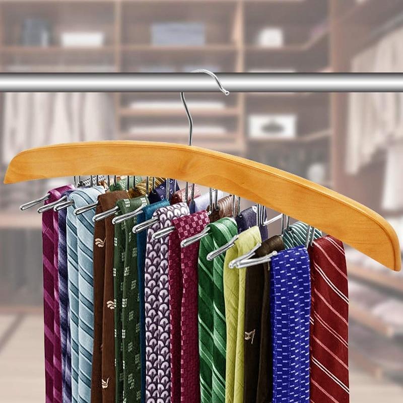 Tie Belt Hangers 2 Pack, Adjustable Rotating 24 Clip Scarf Racks Holder Hook for Homewares Closet Accessories Organizers Storage