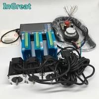 3 sets 4 5nm nema34 86mm hybird closed loop stepper motor driver easy servo kits 4 axis offline controller g plc mpg for cnc