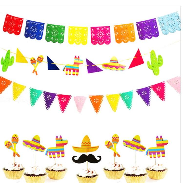 Tema de la bandera de fiesta de Carnaval tirar de fieltro triángulo colorido hueco cuadrado tirar de la bandera