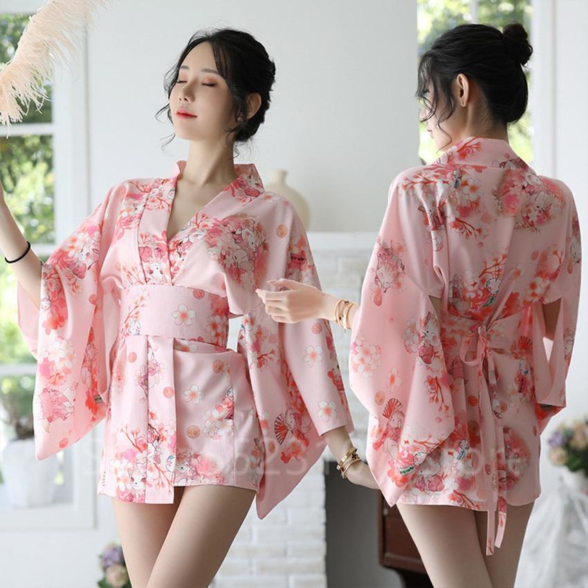 Sexy Kimono Sakura encantador uniforme japonés Robe Floral Albornoz corto Kimono noche vestido de moda para las mujeres ropa de dormir