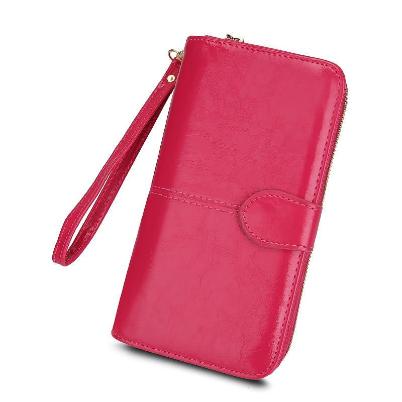 Popular women's wallet 2021 new zipper oil wax leather wallet buckle mobile phone bag oil leather new Pu handbag