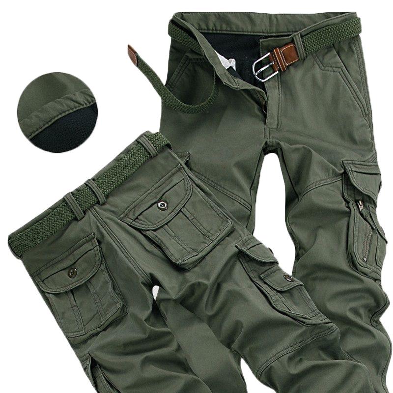 Mens Winter Pants Thick Warm Cargo Pants Casual Fleece Pockets Fur Trouser Plus Size 38 40 Fashion L