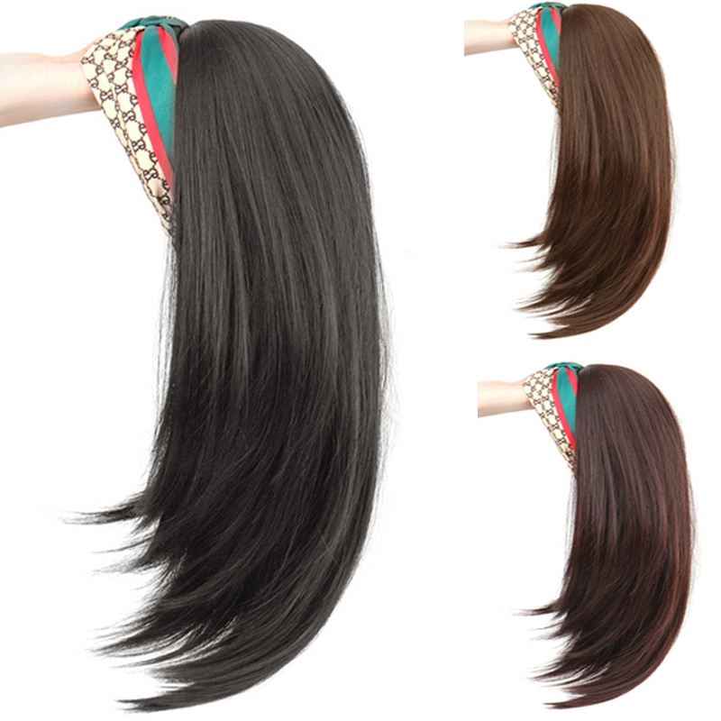DIANQI 18 Inch Short Straight Black Wigs With Hair Band Synthetic Long Half a Headband Wigs for Women Heat Resistant Fiber Hair