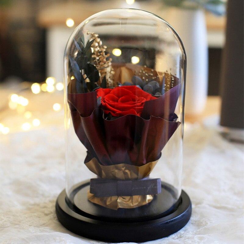 2 sets/paquete 12*18cm Base negra florero de cúpula decoración del hogar diámetro = 12cm altura = 18cm cubierta de cristal DIY regalo de recuerdo de boda