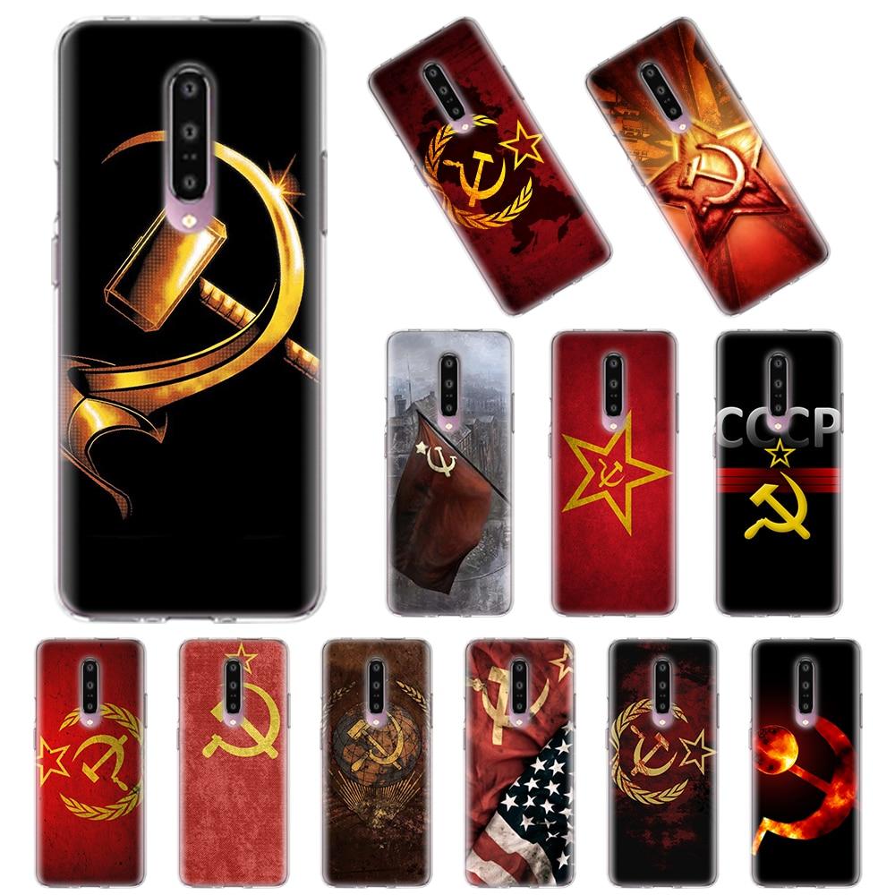 Fundas blandas transparentes para Oneplus 7 8 Pro 6T 7T Pro 6 6T 7T Pro Nord 5G TPU funda de silicona roja Unión Soviética, URSS funda de bandera Grunge