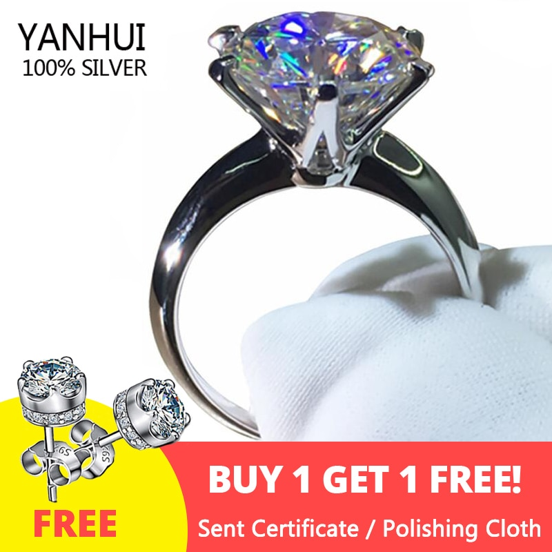Sell at a loss! Have Certificate Silver 925 Ring 18K White Gold Pt Ring Natural 2.0ct Zirconia Gemstone Wedding Rings For Women 95% off with certificate luxury solitaire 2 0ct zirconia diamond ring 925 solid silver 18k white gold wedding rings for women