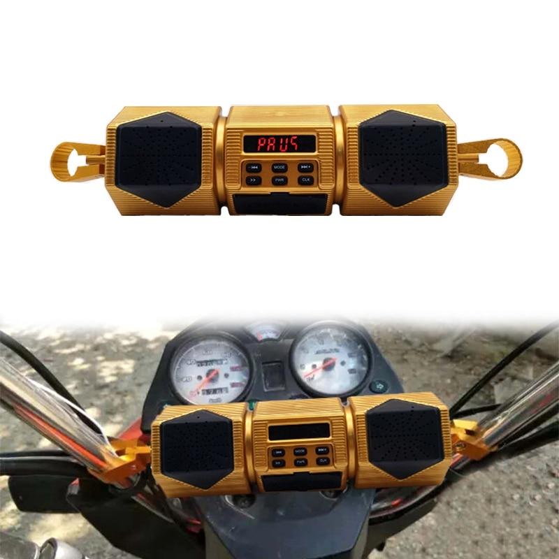 دراجة نارية مشغل MP3 المقود المتكلم بلوتوث الموسيقى راديو FM مقاوم للماء حامل قابل للتعديل الدراجة الصوت ستيريو 12 فولت