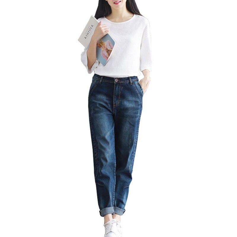 2020 primavera Jeans Harem Pantalones mujer Casual de talla grande 4XL suelta Vintage Denim Pantalones de alta cintura Jeans Mujer Pantalones de Gala