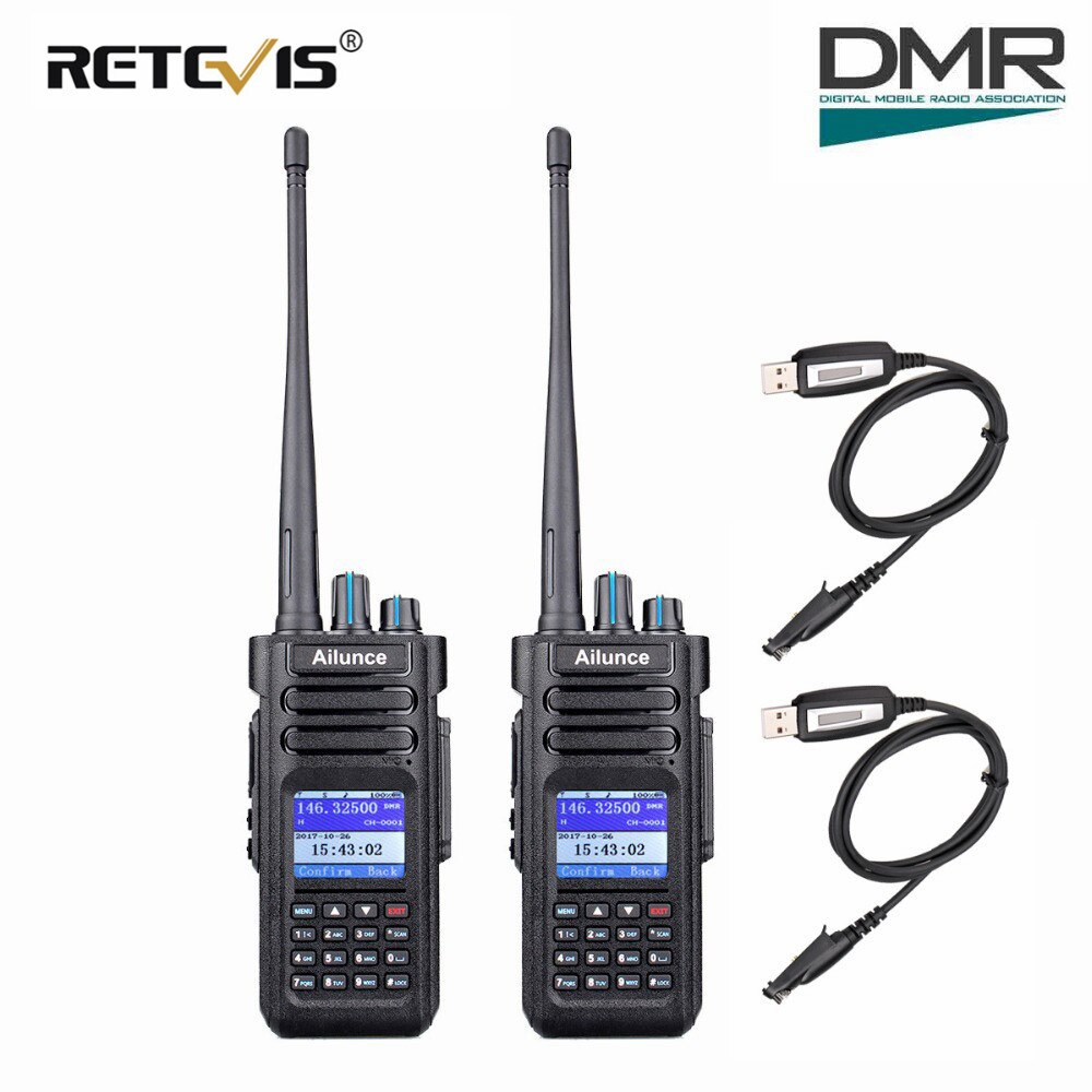 2pcs retevis ailunce hd1 dmr rádio digital rádio bidirecional walkie talkie 10 w ip67 gps dmr vhf uhf ham rádio amador transceptor