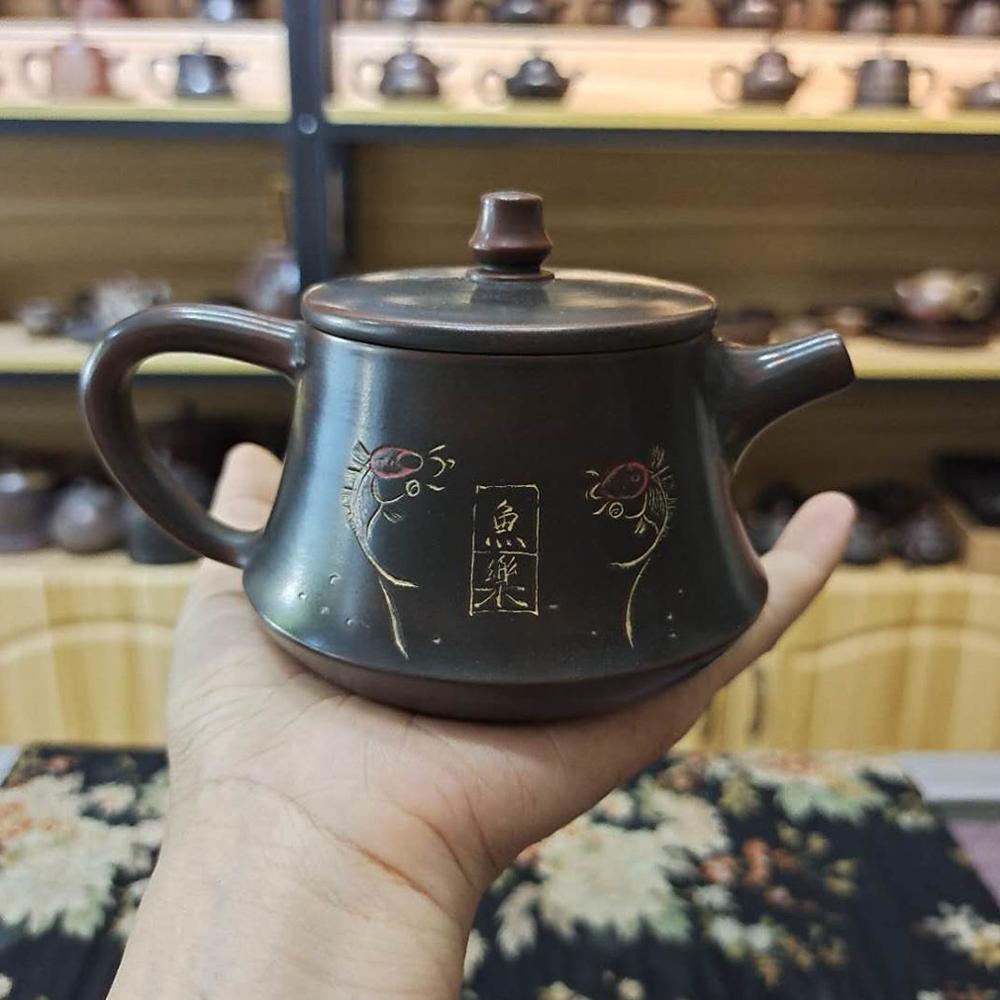 إبريق شاي من Zhuchu مصنوع يدويًا من الفخار ، جيد للصحة مع إبريق شاي من الطين الصحي وليس Yixing