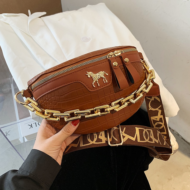 women Bag Pu Leather Small Simple Waist Packs For Women 2021 Chest Bags Female Fashion Phone Purses Chain Travel Belt Bags luxury brand waist packs women crocodile pattern pu leather fit 5 5 inches phone funny bags ladies travel money wallet belt bag