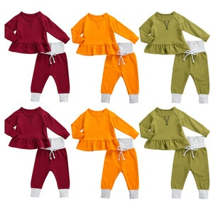 0-24M Cute Baby Boys Girls Clothing Sets Autumn Winter Toddler Newborn Infant Baby Boy Girl Long Sleeve Pullover Tops+Long Pants