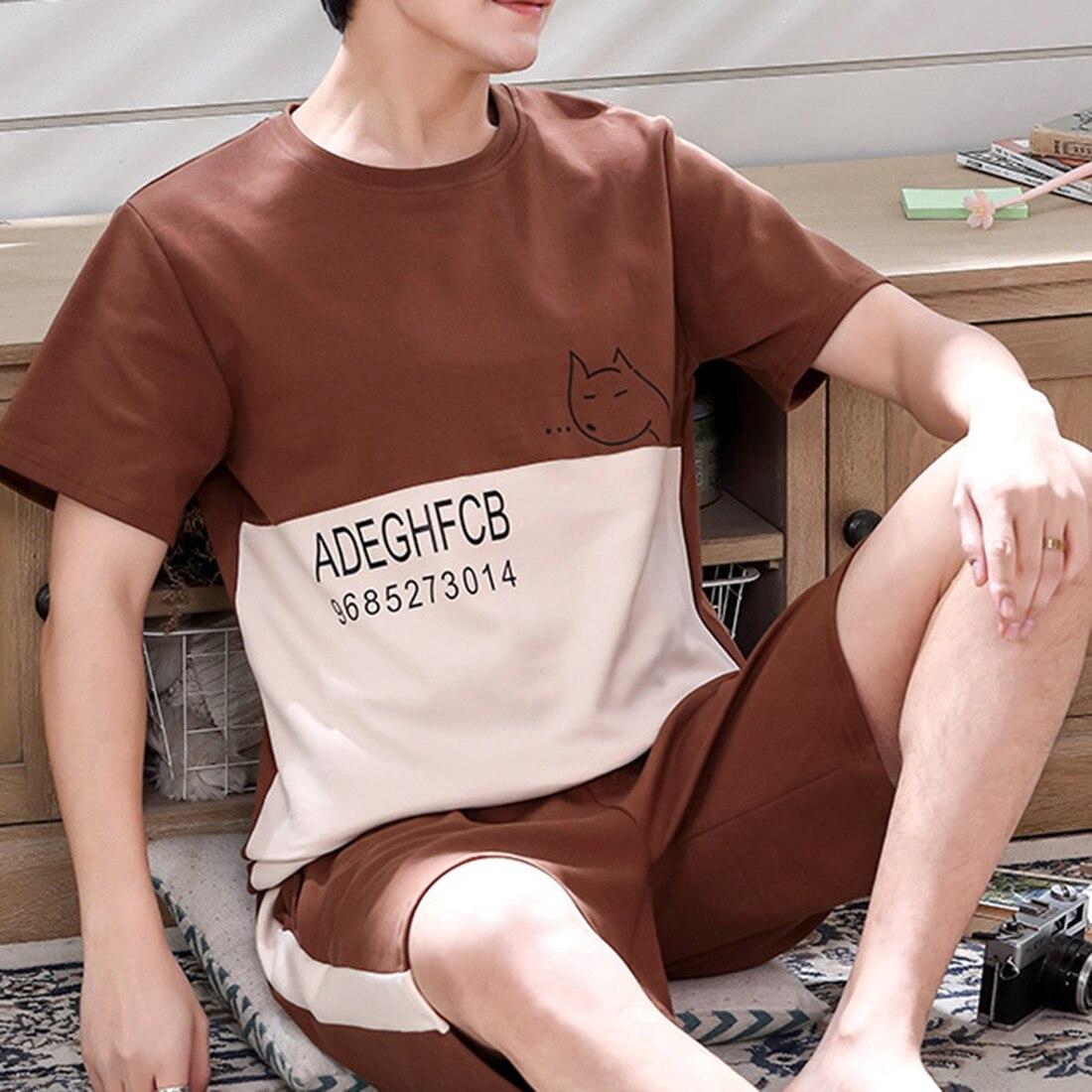2020 Лето Повседневный Полосатый Хлопок С короткими рукавами Пижамы Комплекты Для Мужчин Пижамы Мужские Домашняя одежда Гостиная Одежда Ночь Костюм Дом Одежда