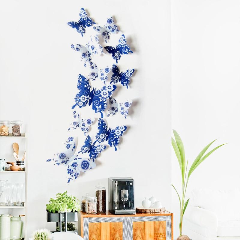 12pçs adesivos de parede 3d de borboleta, adesivos de decalque 3d azul e branco de porcelana, adesivos de parede de decoração da casa, adesivos de parede de simulação de borboleta