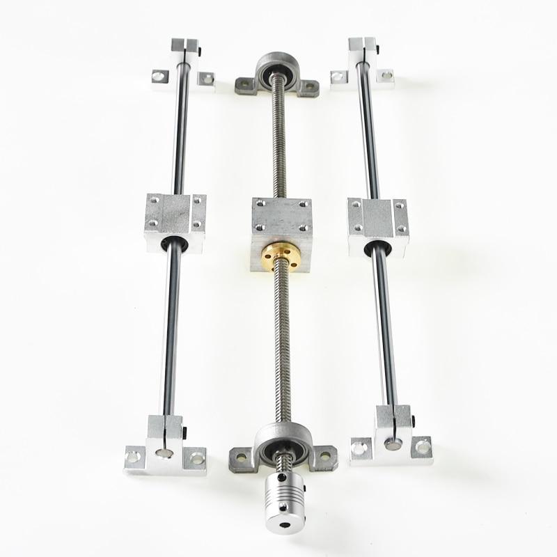 13pcs Linear Guide Rail Support Set Dual Rail 150/250/350mm Fully Slide Support T8 Lead Screw Rod SCS8UU Linear Bearing Block