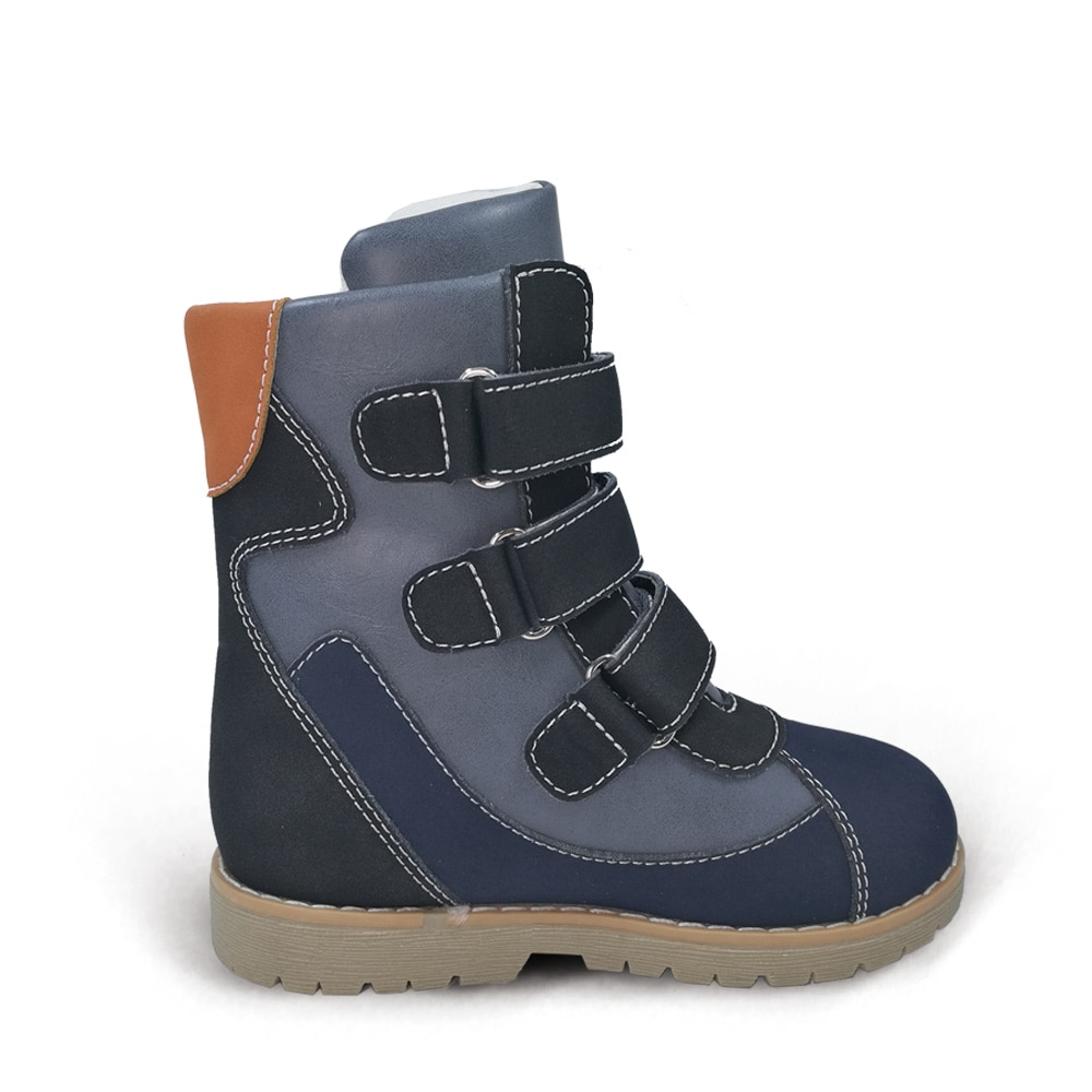 Ortoluckland Kids Casual Shoes Winter Plush Knight Boots For Boys Girls Children Classic Orthopedic Round Toe Clubfoot Footwear enlarge