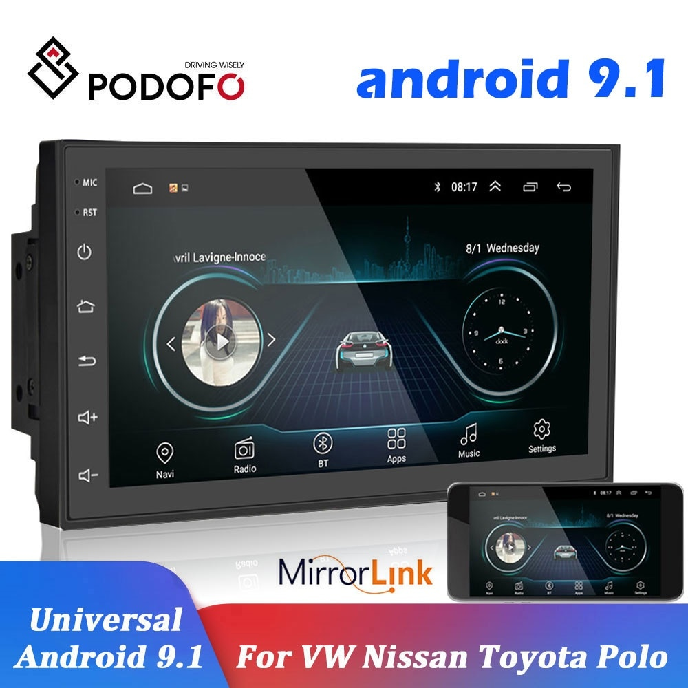 Podofo 2 الدين راديو السيارة 2.5D نظام تحديد المواقع أندرويد مشغل وسائط متعددة العالمي 7