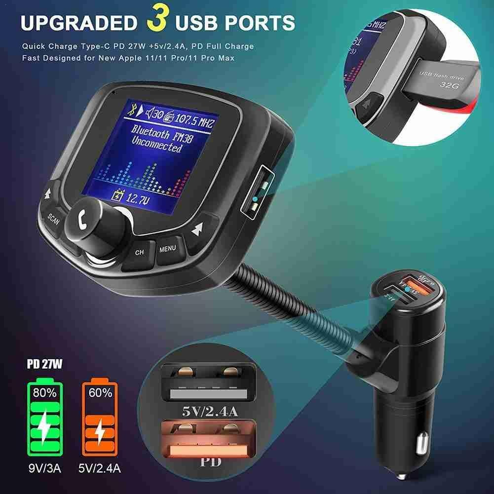 Car Bluetooth FM Transmitter, Color Screen Wireless Bluetooth, MP3 Player, Support TF Card
