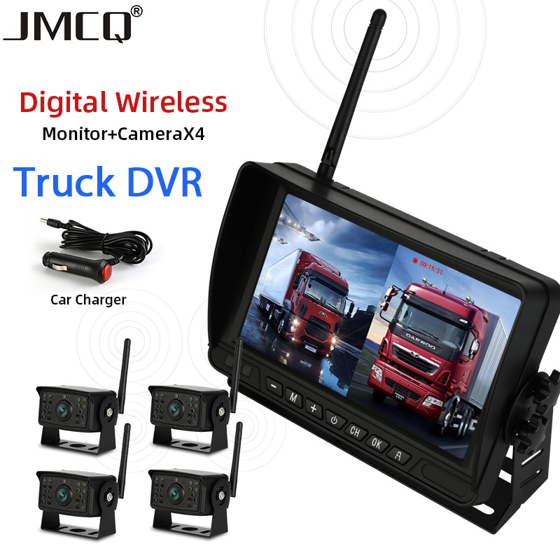 JMCQ-شاشة سيارة IPS مقاس 7 بوصات DVR ، وشاشة لاسلكية عالية الدقة مقاس 1280 × 720 ، ورؤية ليلية ، ومسجل النسخ الاحتياطي العكسي ، وواي فاي ، لسيارة الحافل...