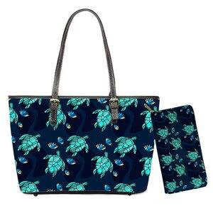 Tropical Hawaii Turtle Pattern Handbags 2pcs/set Luxury Design Top-handle Bags for Women Travel Shoulder Bag Totes