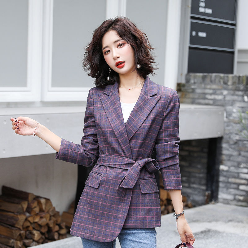2020 New Spring Autumn Women Casual Single Button Plaid Blazers Female Korean Office Lady Suit Outwears Plus Size 4XL A15