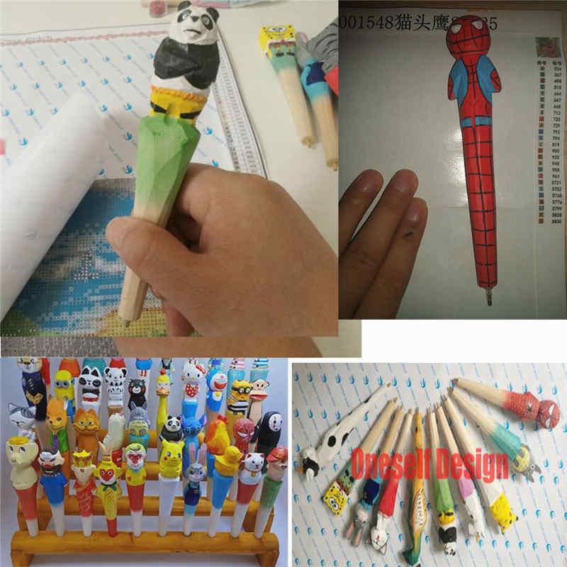 Novo presente de natal caneta broca para pintura diamante ferramentas pintura diamante acessórios 100% mão esculpida canetas de madeira diamante mosaico