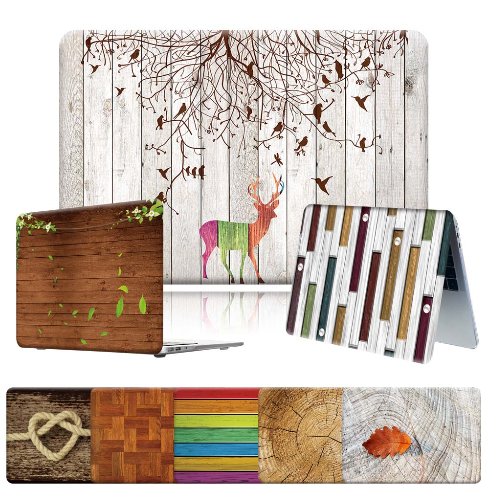 Wood Pattern Series Laptop Case Fit Apple Macbook Air 11 13 Inch/Pro 13 15 16 Inch Shock-proof High Quality PVC Hard Shell Case