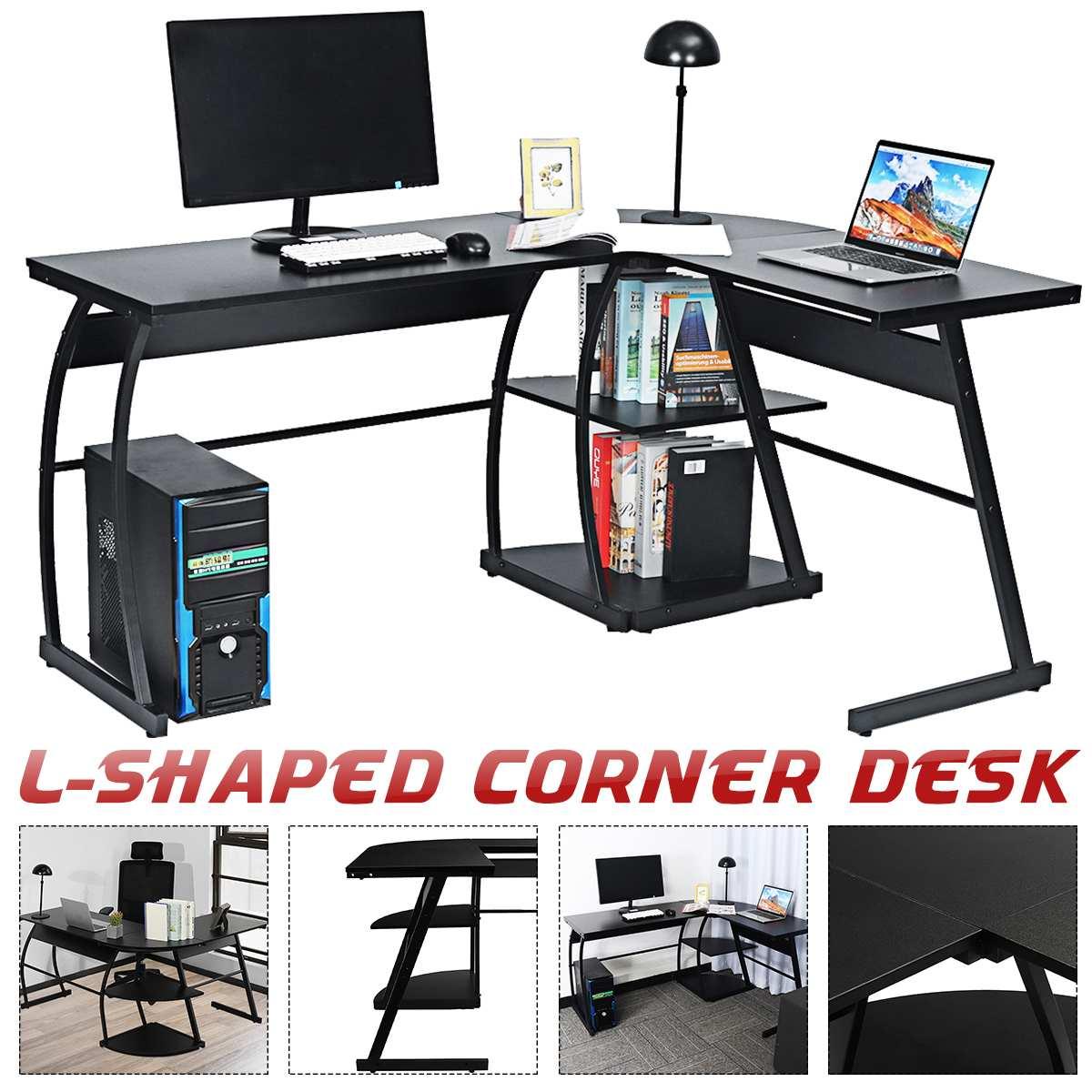 1 قطعة الوظائف L على شكل مكتب الزاوية كبيرة الكمبيوتر المحمول دراسة الألعاب الجدول محطة المنزل مكتب الأثاث