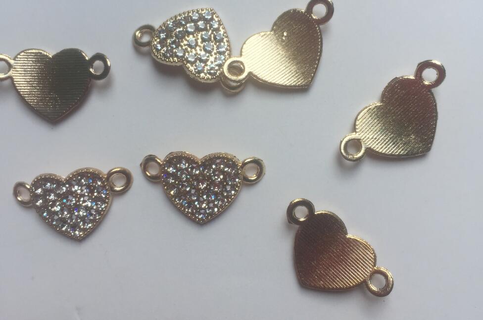 100 قطعة 19x111 مللي متر الذهب لهجة تمهيد الأبيض كريستال الراين القلب شكل موصل سوار سحر الخرز