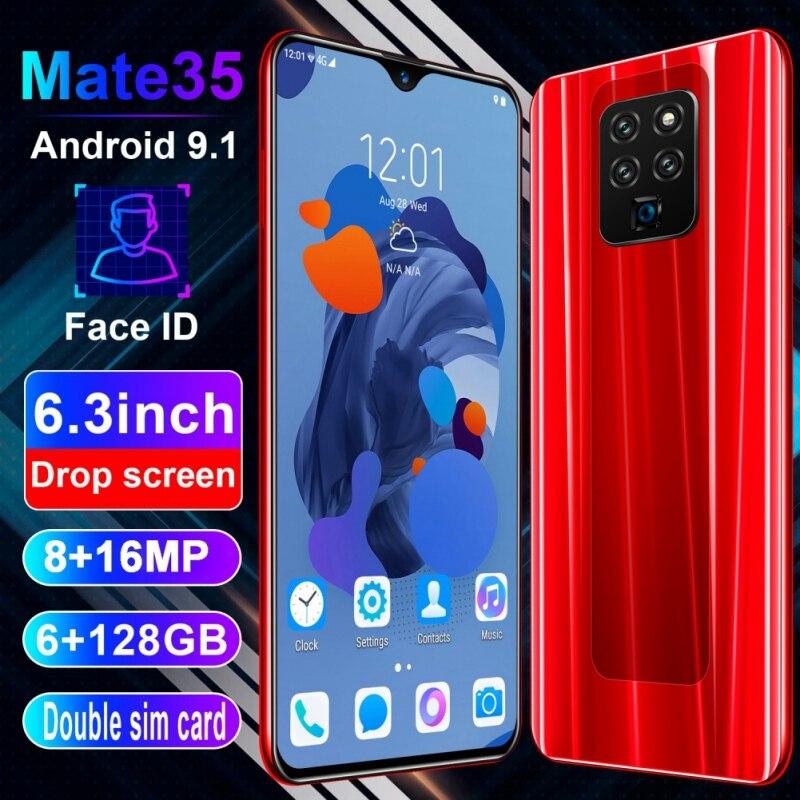Mate35 6,3 pulgadas 4G Smartphone 6GB RAM 128GB ROM gota de agua teléfono móvil huella dactilar y reconocimiento facial desbloquear teléfono celular
