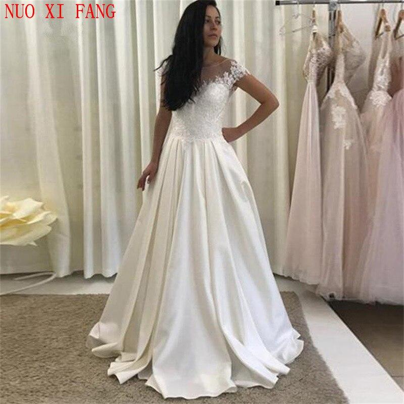 NUOXIFANG Vintage satén barato una línea Cap manga encaje vestido De bodas aplique Boho pavo vestido De Novia Vestidos De Novia