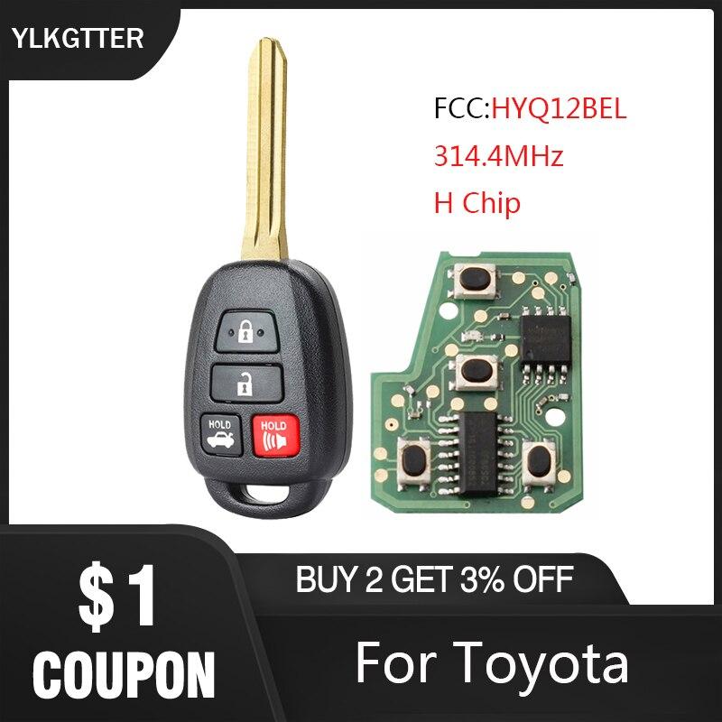 YLKGTTER 314,4 MHz 4 botones llave de coche remota para Toyota Rav4 2013-2015 para Toyota Prius C V 2012-2016 llave deseo Fcc HYQ12BEL H Chip