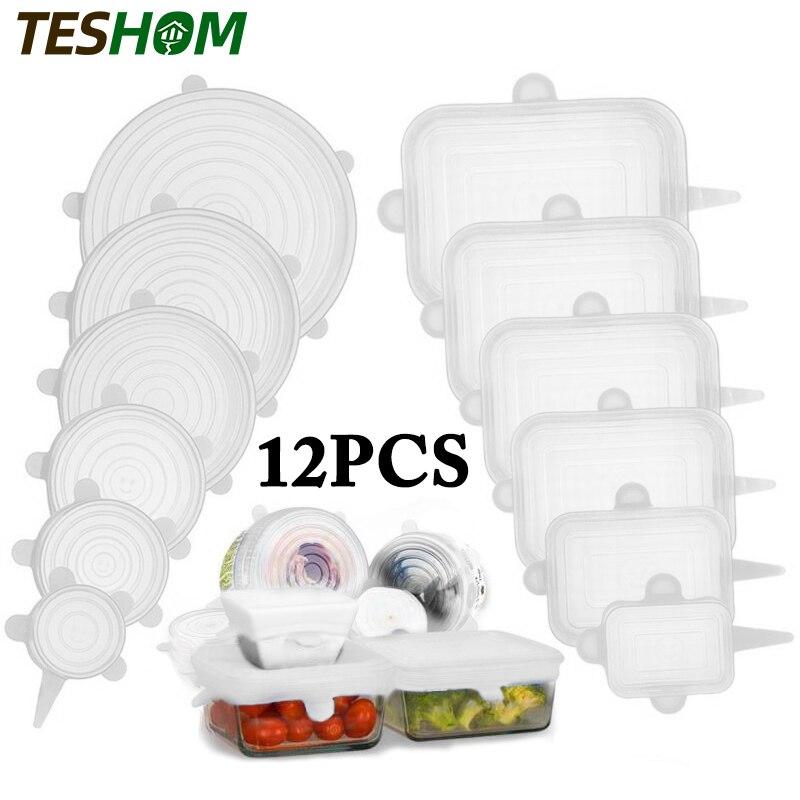 Tapas de silicona para mantener los alimentos frescos, cubiertas elástica, reutilizable, utensilio ideal para tazones, cacerolas, accesorio de cocina, 6/12 unidades
