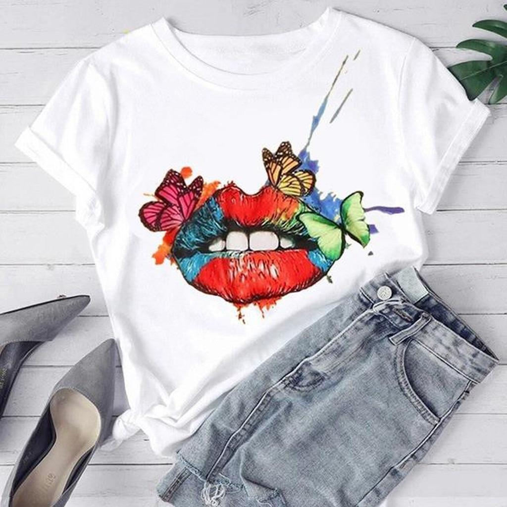 Tshirt 2020 verão das mulheres t camisa sexy lábio borboleta impressão de manga curta o pescoço solto camiseta feminina topos camisa mujer koszula