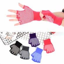 Non-slip Professional Yoga Gloves Womens Gym Body Building Training Sports Yoga Pilates Gloves Fitness Half Woman Cotton Mittens