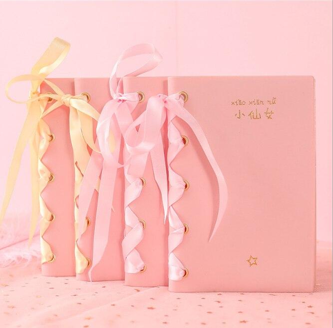 Cuaderno planificador diario japonés coreano dibujos animados divertida chica encantadora estudiante Rosa PU dorado vendaje blanco esclor suministros escolares