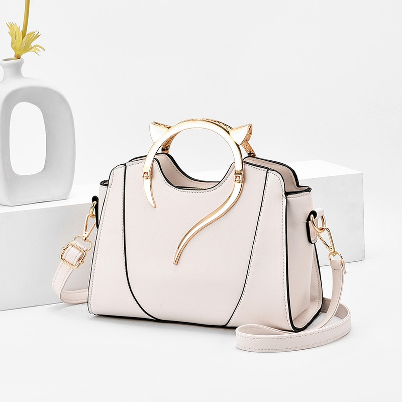 Simple Female Leather Shoulder Bags Handbag 2021 New Style Fashion Cat Portable Candy-Colored Women'