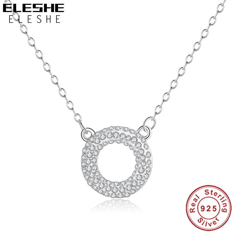 ¡Novedad de 2019! Collar con colgante redondo de cristal de moda con cadena larga, Collar de plata de ley 925 para mujer, joyería de boda