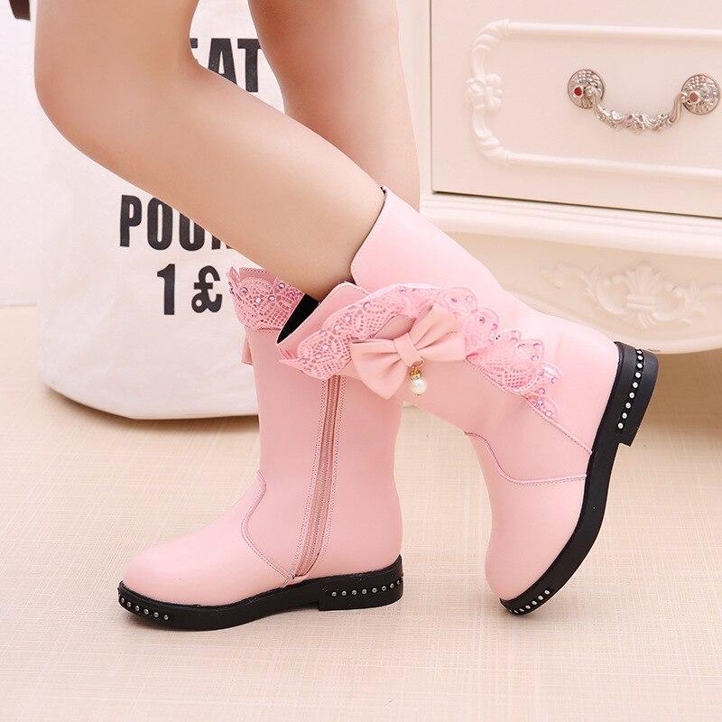 Novo Inverno Crianças PU Botas Botas De Meninas Crianças Alta Gravata borboleta Sapatos Meninas Pincess Vestido Botas Crianças Grandes Sapatos de tamanho 27-37